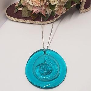 Vintage Glass Teal Shell Suncatcher